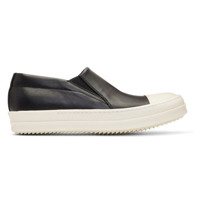 RICK OWENS RICK OWENS BLACK AND OFF-WHITE BOAT SLIP-ON SNEAKERS