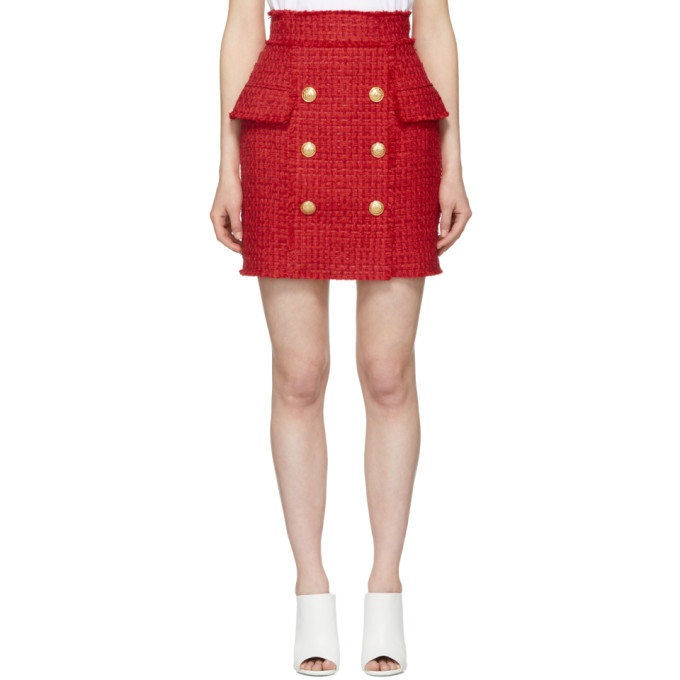 Button-Embellished Wool-Piqué Mini Skirt, Red