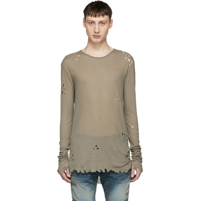 Distressed ribbed-knit jersey sweater Balmain