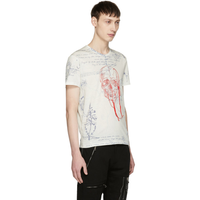 Black Skull Threads T-Shirt Alexander McQueen
