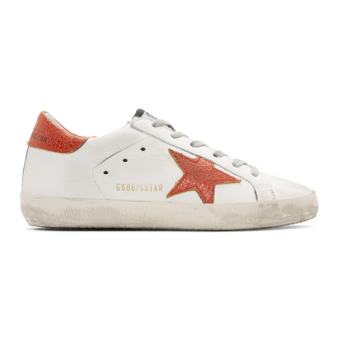 White & Red Superstar Sneakers