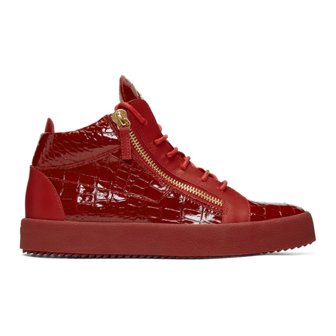 Red Patent Croc May London High-Top Sneakers Giuseppe Zanotti