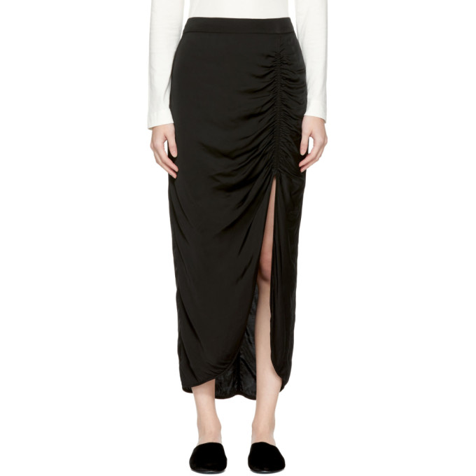 Black Gathered Slit Skirt Raquel Allegra