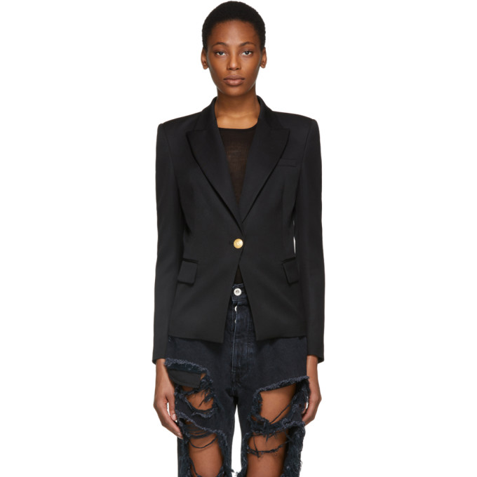 Black Classic Single Button Blazer by Pierre Balmain