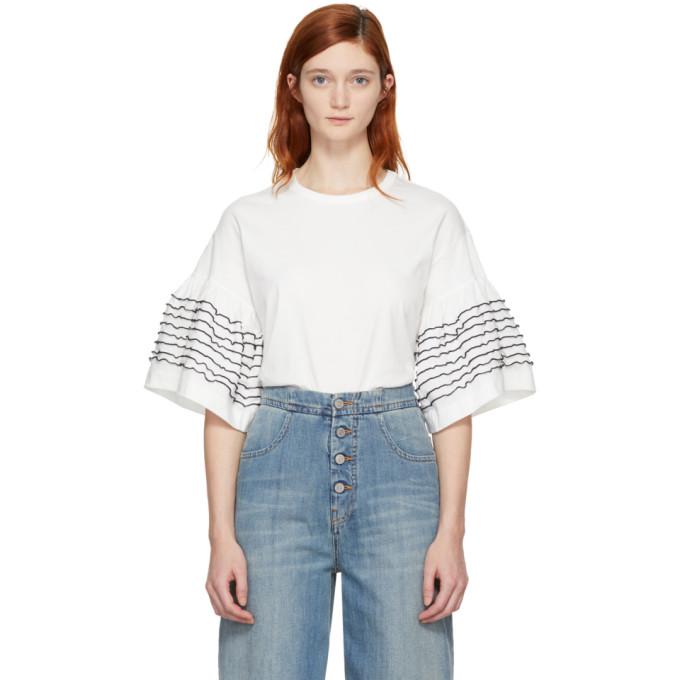 Off-White Ruffle Sleeve T-Shirt