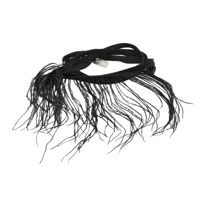 Black Feather and Ribbon Bracelet Ann Demeulemeester