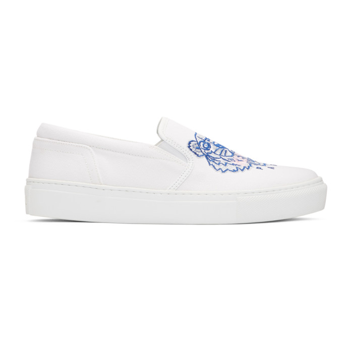WOMEN'S TIGER EMBROIDERED SLIP-ON PLATFORM SNEAKERS