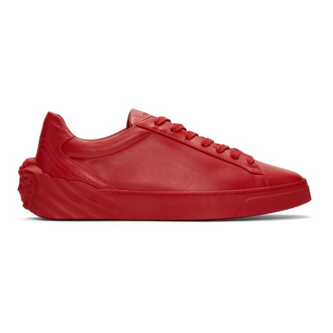 Versace Leathers VERSACE RED BACK MEDUSA HEAD SNEAKERS