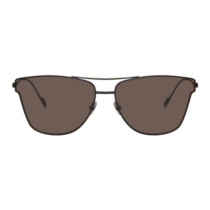 Sl 51 Geometric Metal Aviator Sunglasses, Black