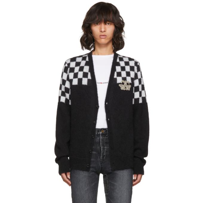 Saint Laurent Wools SAINT LAURENT BLACK AND WHITE HALF CHECK EMBROIDERED CARDIGAN