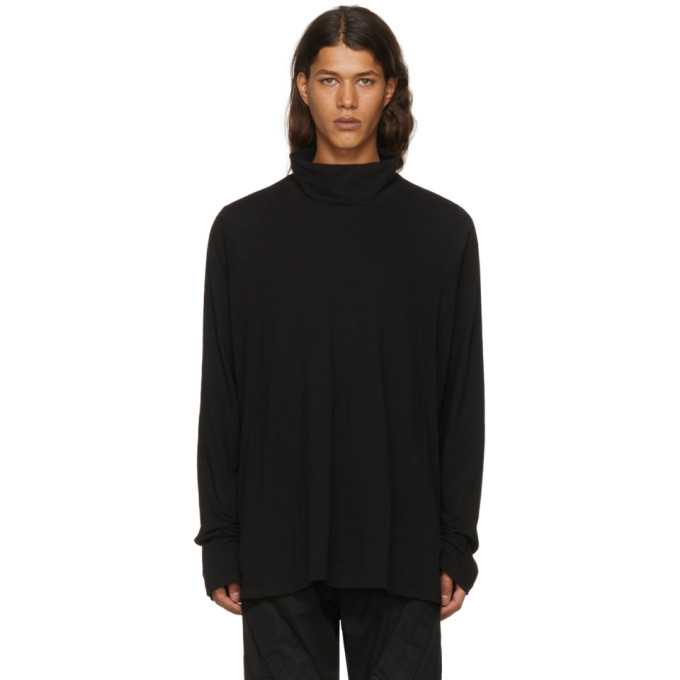 Black High Neck Seamed Cut & Sewn Turtleneck by Julius