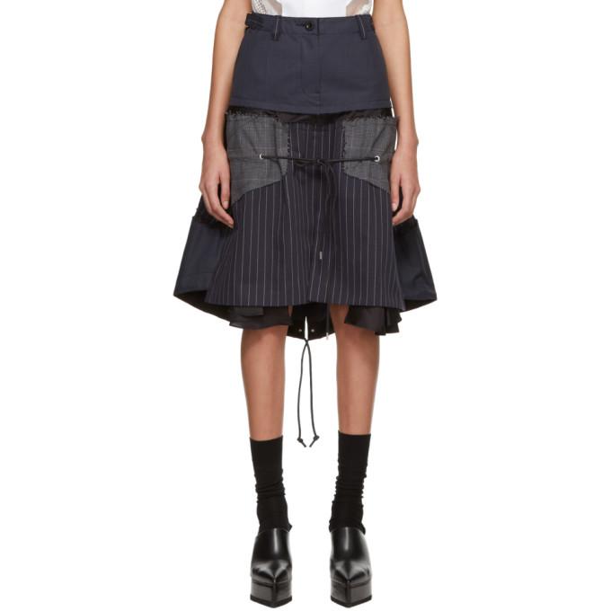 Navy & Grey Glencheck Stripe Skirt by Sacai
