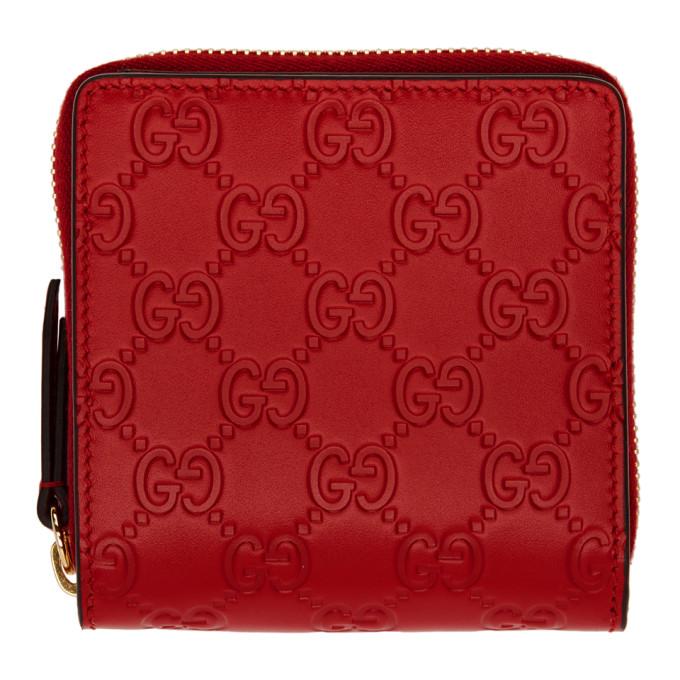 GUCCI RED LINEA A ZIP WALLET