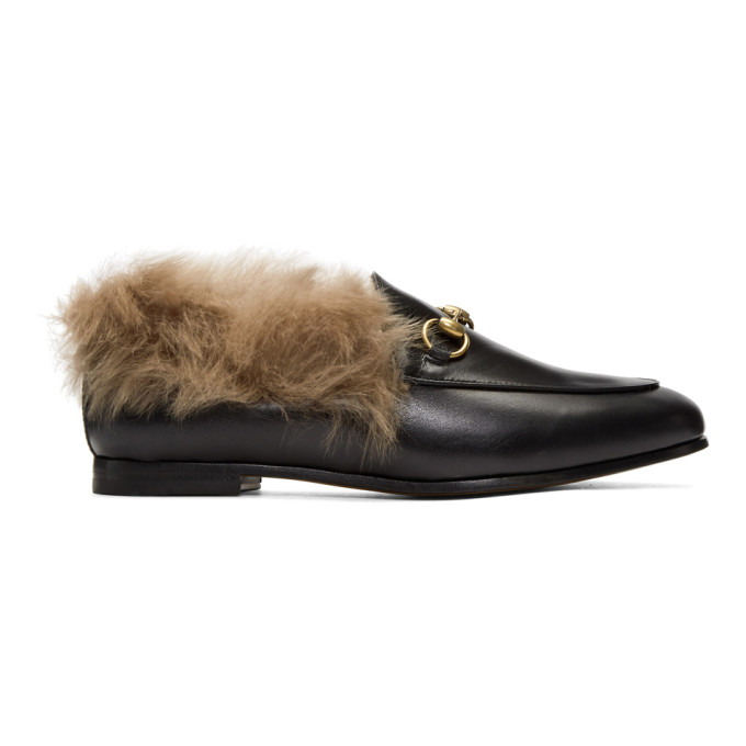 Gucci Jordaan Horsebit-Detailed Shearling-Lined Leather Loafers In 1063 Black