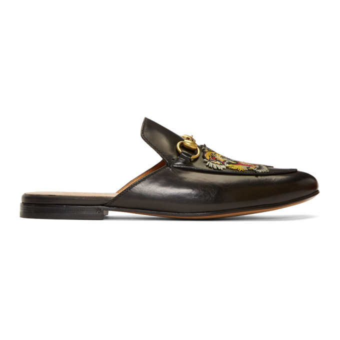 e7e78353b9a Gucci Princetown Tiger-AppliquÉ Leather Backless Loafers In Black ...