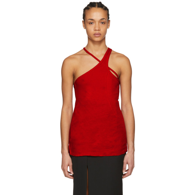 Red Cut Out Tank Top by Haider Ackermann