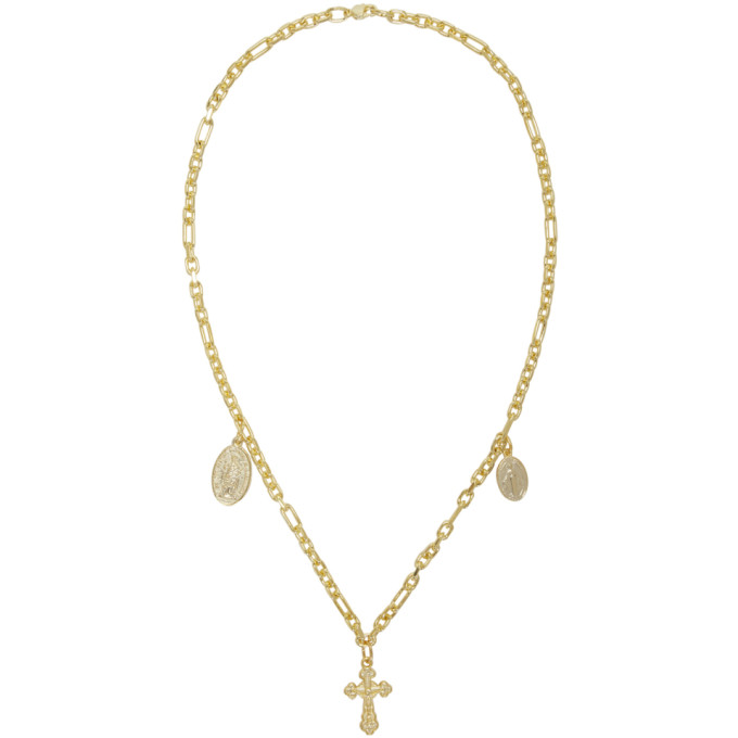 Off-White  OFF-WHITE GOLD CROSS NECKLACE