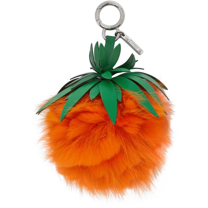 Orange Fur Pineapple Keychain Fendi
