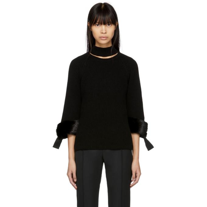 Fendi Black Fur-trimmed Cashmere Turtleneck