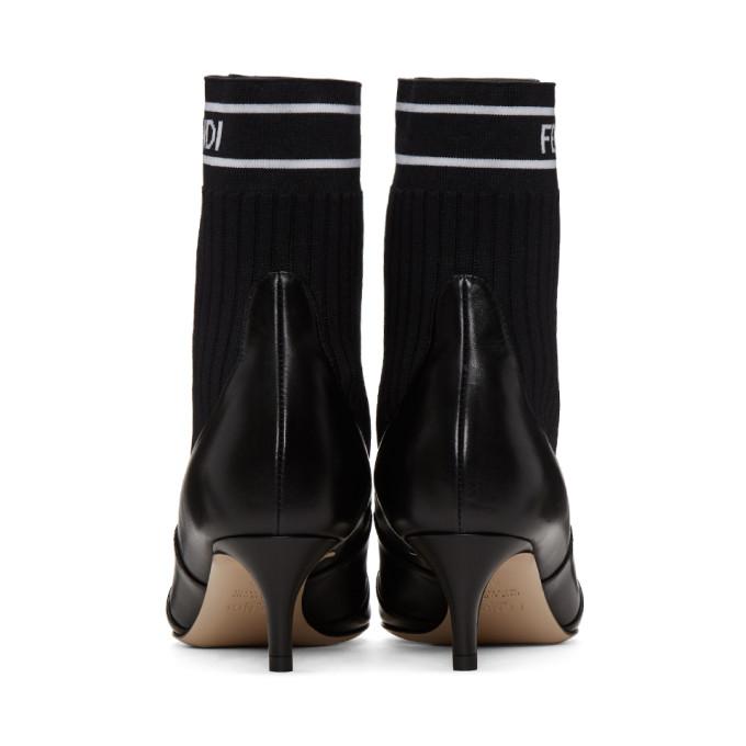 295b42cbb47 Fendi Leather   Knit Combat Knee Boots