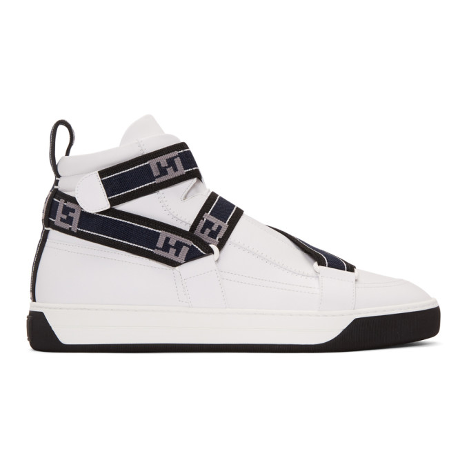 White 'forever Fendi' Straps High Top Sneakers by Fendi