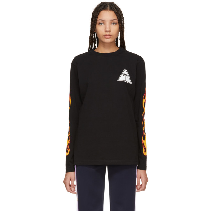 Palm Angels  PALM ANGELS BLACK LONG SLEEVE PALMS AND FLAMES T-SHIRT