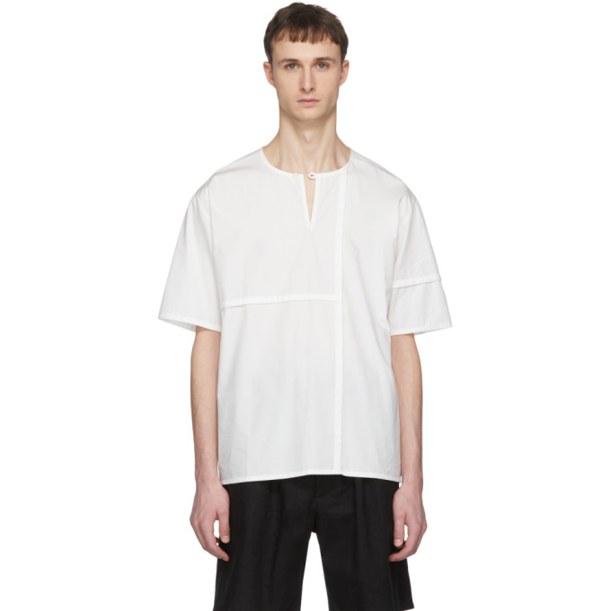 Off White Short Sleeve Patched Henley by Phoebe English