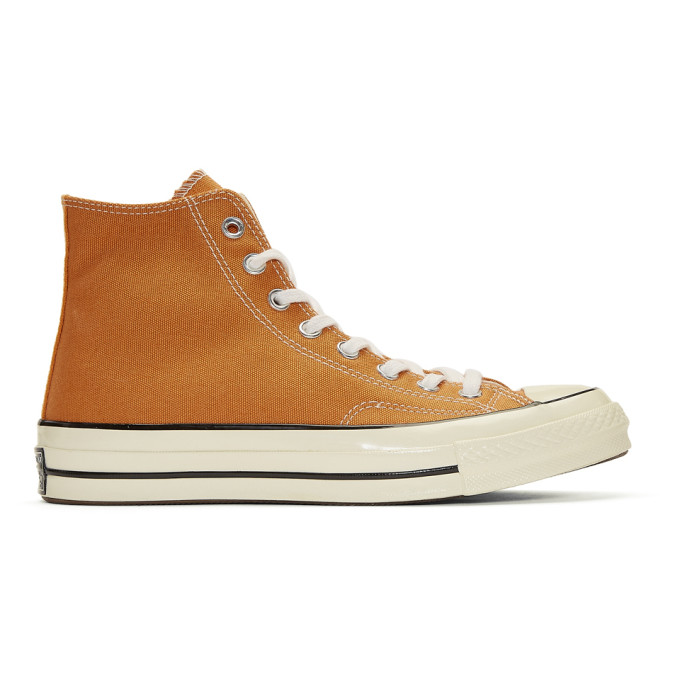 09b026138662 CONVERSE Orange Chuck Taylor Canvas Vintage High-Top Sneakers