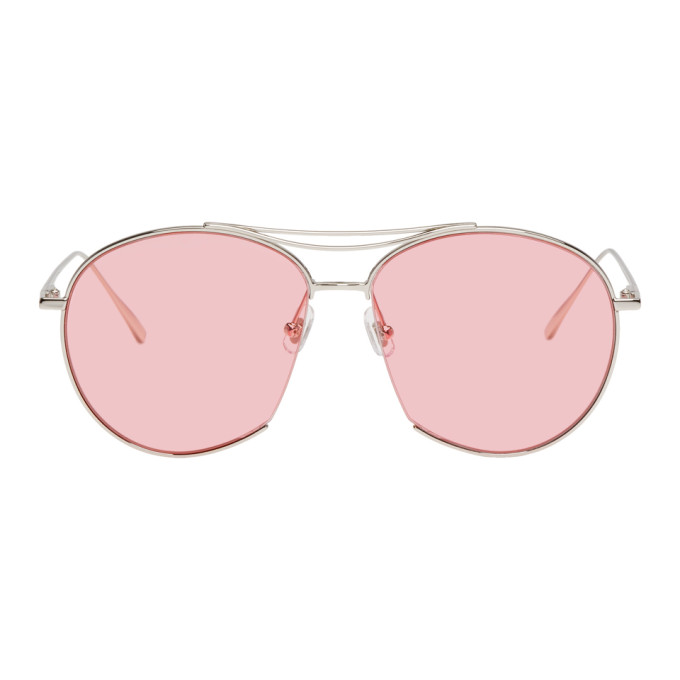 6ec45b5e09 Gentle Monster Silver And Pink Jumping Jack Sunglasses In 02(P) Silvr