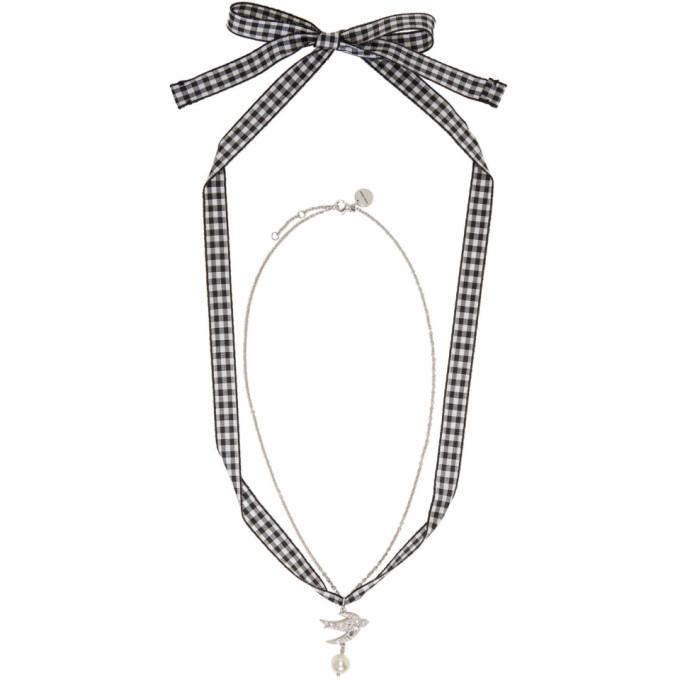 Silver Swallow Pearl Charm Bracelet Miu Miu