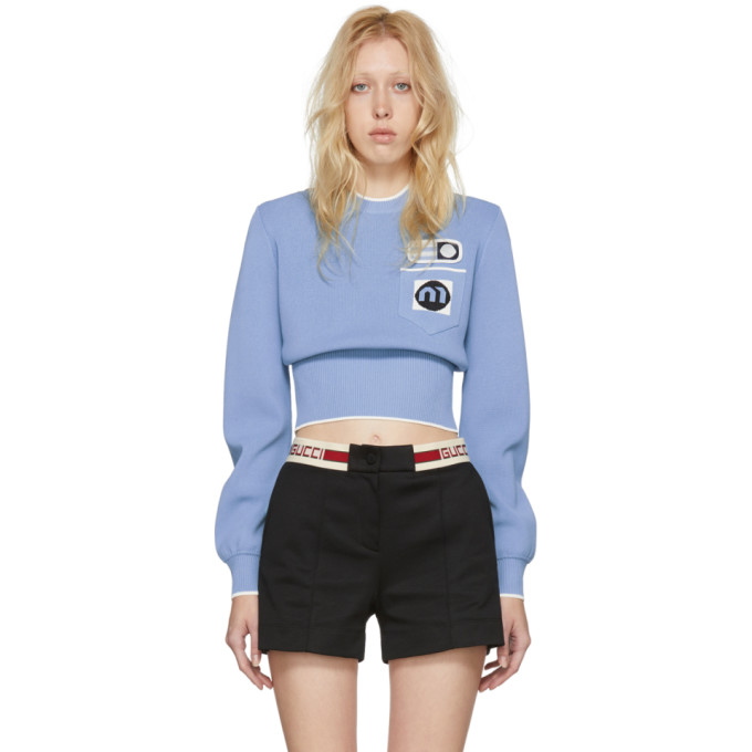 Blue Patches Crewneck Sweater by Miu Miu