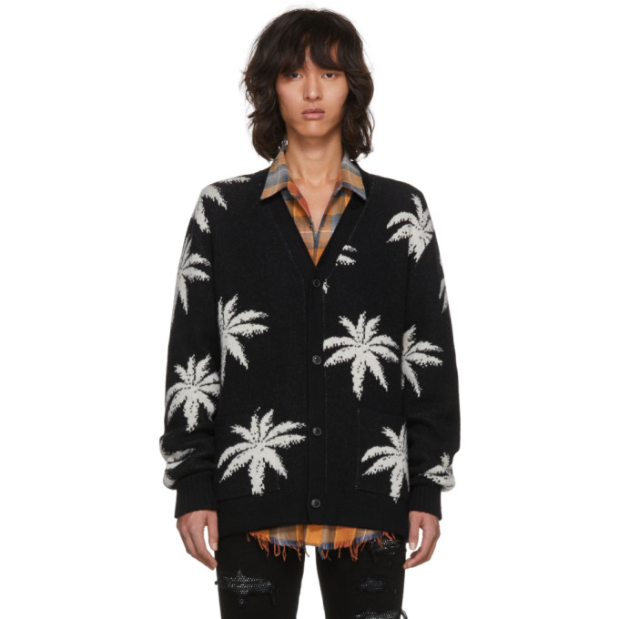 Amiri  Black Cashmere Palm Cardigan