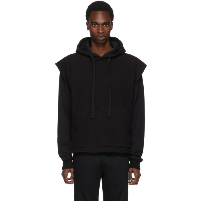 Black Double Layer Mesh Hoodie by Amiri