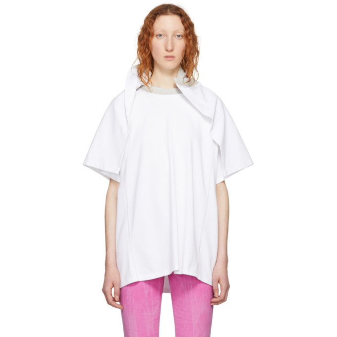 White Flap Around Shoulder T-Shirt
