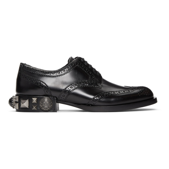DOLCE AND GABBANA BLACK STUDS AND PEARLS BROGUES
