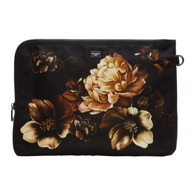 DOLCE AND GABBANA BLACK FLOWER POUCH
