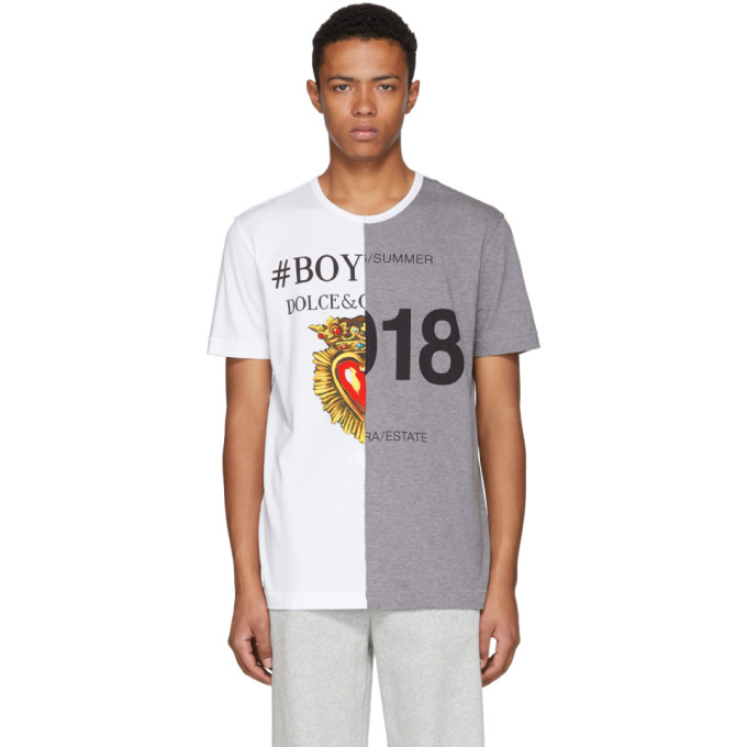 DOLCE AND GABBANA WHITE AND GREY LOGO T-SHIRT