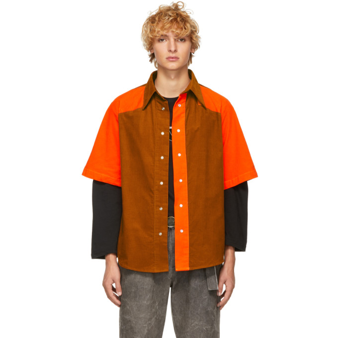 Ssense Exclusive Orange & Tan Corduroy Shirt by St Henri