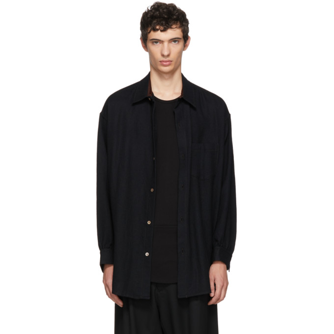 SULVAM Sulvam Black Wool Shirt