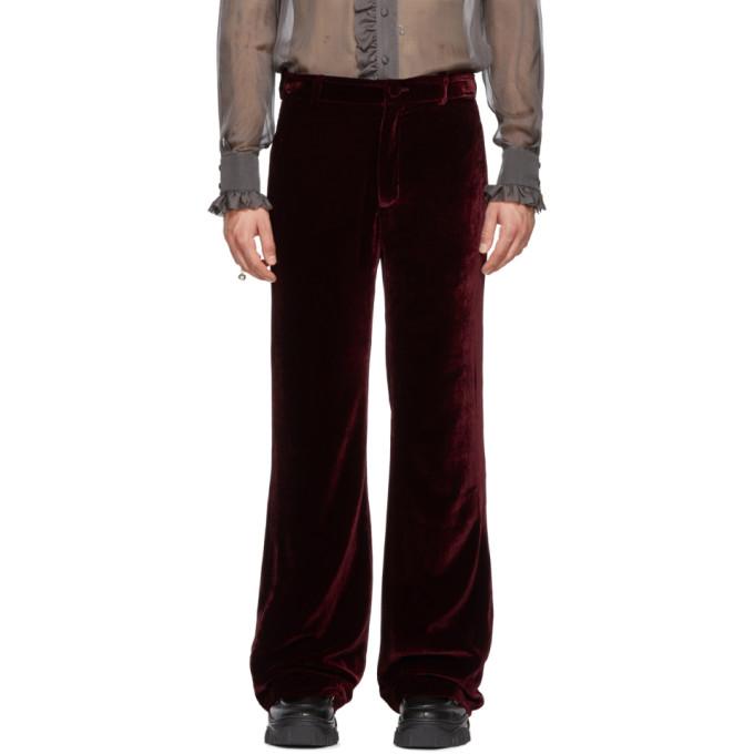 PALOMO SPAIN Palomo Spain Burgundy Velvet Trousers