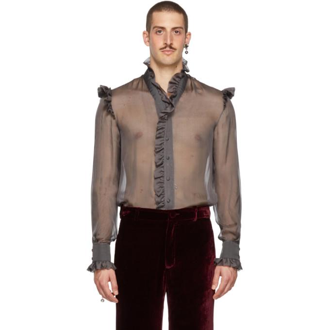 PALOMO SPAIN Palomo Spain Grey Sheer Ruffled Shirt