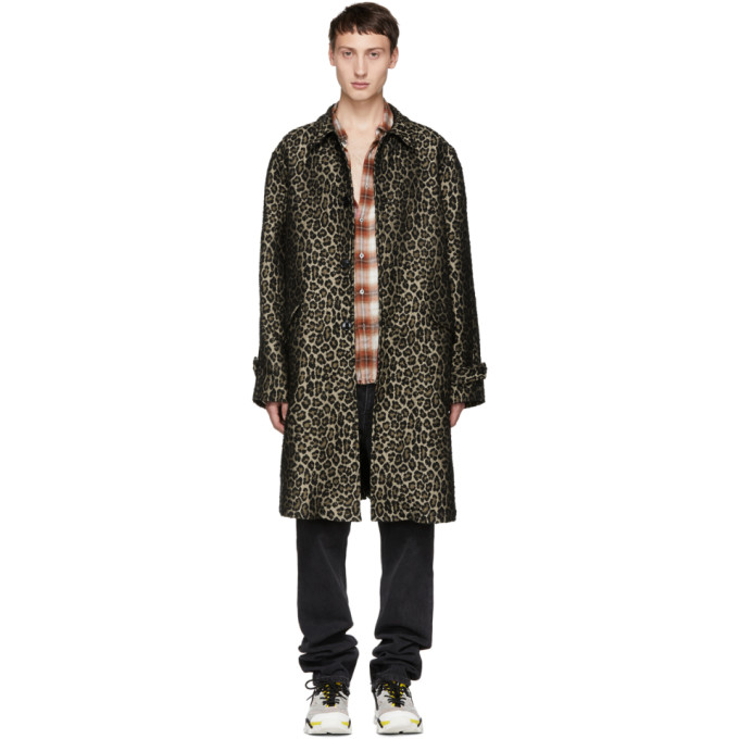 ADAPTATION Boxy Leopard Print Coat in Brown