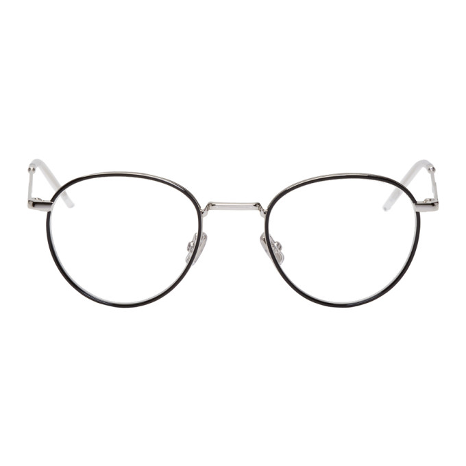 DIOR HOMME BLACK AND SILVER ROUND 213 GLASSES