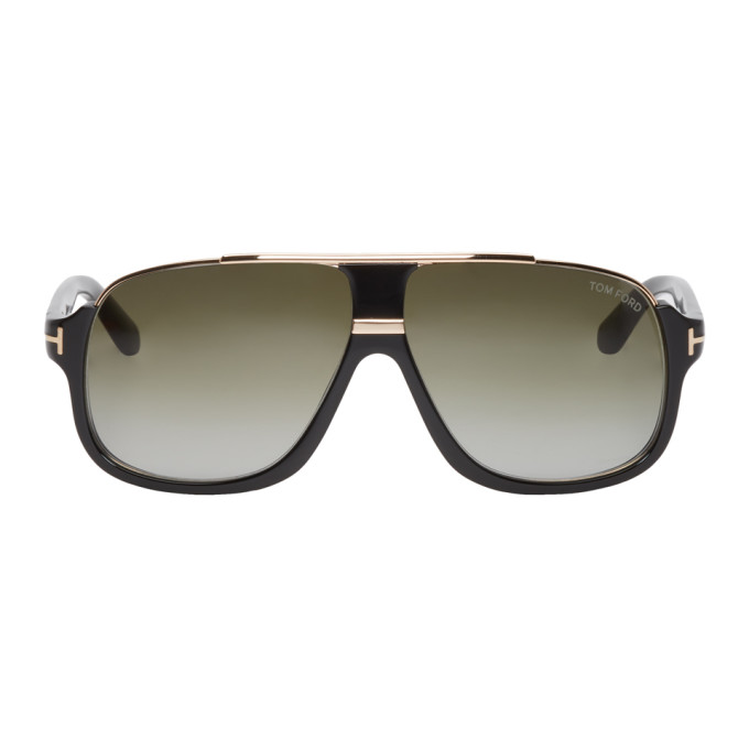 5e3a37d2304 Tom Ford Black And Gold Elliot Aviator Sunglasses In 01P