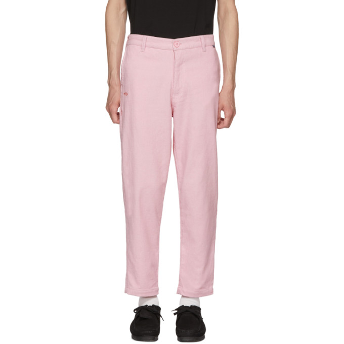 DICKIES CONSTRUCT PINK CORDUROY STRAIGHT SLIM TROUSERS