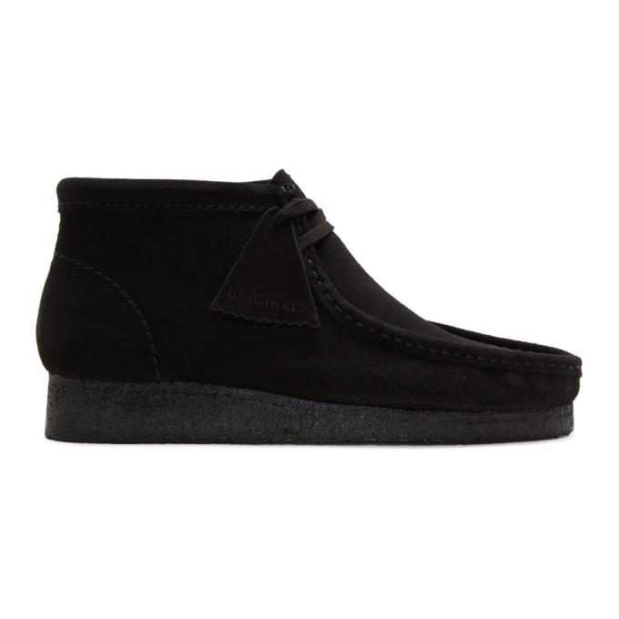 CLARKS ORIGINALS Men'S Wallabee Leather Chukka Boots in Black Suede