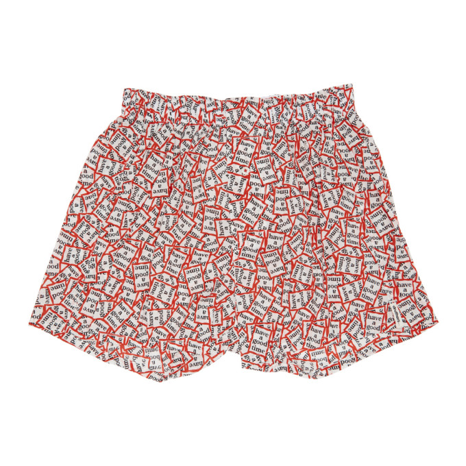 DRUTHERS Druthers Red And White Have A Good Time Boxers