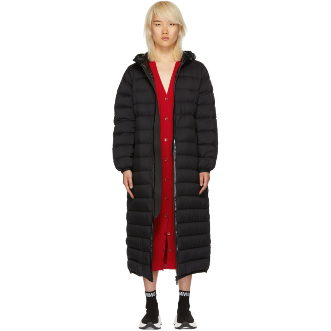 Grue Long Puffer Coat W/ Contrast Hood, 999 Black