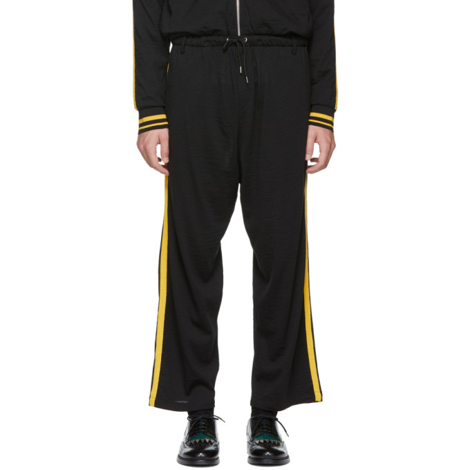 MCQ ALEXANDER MCQUEEN BLACK AND YELLOW SIDE STRIPE LOUNGE PANTS