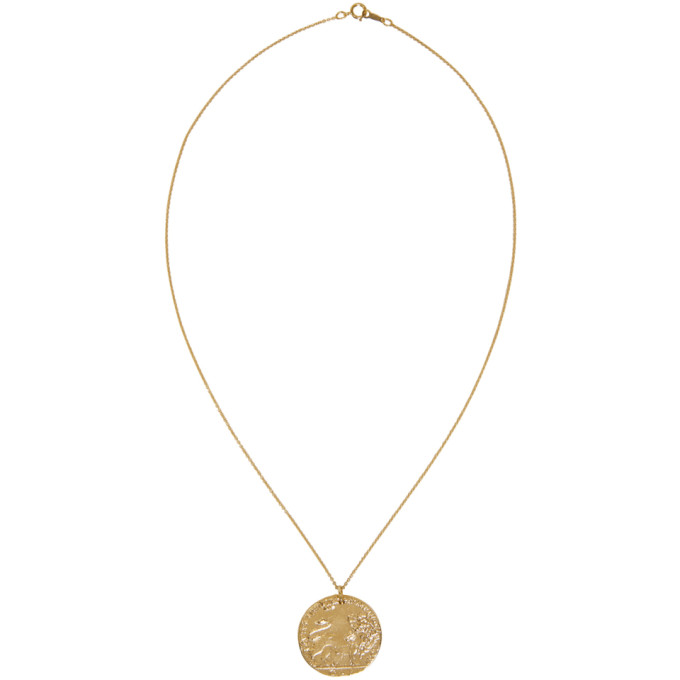 Gold Il Leone Coin Necklace ALIGHIERI